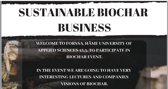Sustainable biochar business -event and spring meeting of Finnish Biochar Association on 15/03/2019